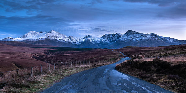 Road to the Cuillin Hills at twilight.
