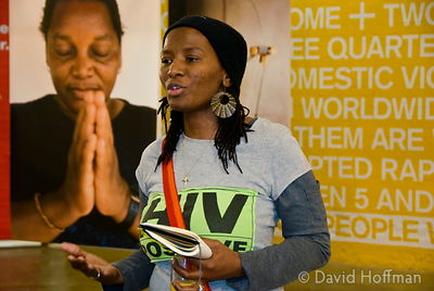 071128_Actionaid_008 Lihle Dlamini speaking at the opening of Positive Women Positive Lives, an exhibtion by Actionaid in cel...