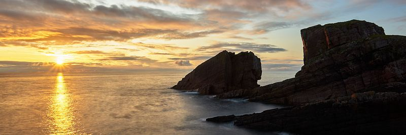 Image - Split Rock at sunset, Clachtoll, Assynt, Sutherland, Highland, Scotland