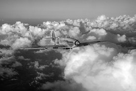 Hurricane JX-L in flight BW version