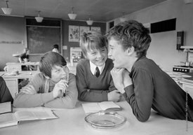 #83642,  Having fun in class, Whitworth Comprehensive School, Whitworth, Lancashire.  1970.  Shot for the book, 'Family and S...