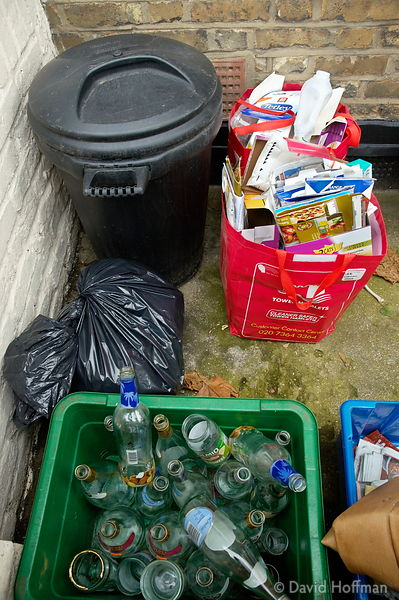 Household waste put out for recycling in Norman Grove, Tower Hamlets, London.