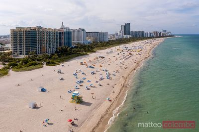 Aerial view of South beach crowded with tourists, Miami