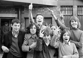 #75019  Having fun outside the building, Liverpool Free School, Liverpool  1971.  Also known as the Scotland Road or Scottie ...