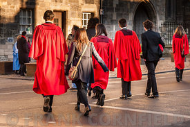 ST ANDREWS, SCOTLAND - NOVEMBER 30, 2012: Students heading to their graduation ceremony at St Andrews University in Scotland.