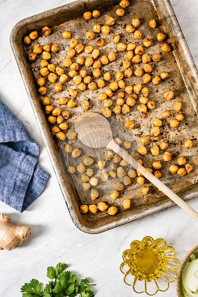 Roasted chickpeas in a baking tray