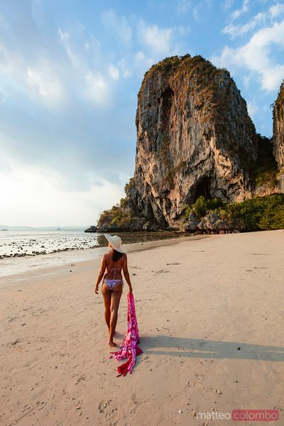 Woman in bikini at Phra Nang beach, Railay, Krabi, Thailand