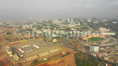 Independence square; Accra from above, drone video