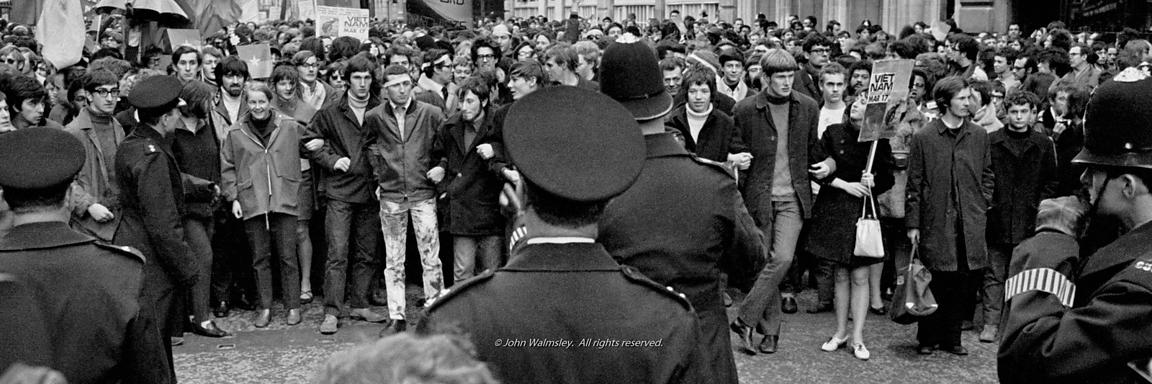 #70441  Police stand off, anti-Vietnam war demo, Grosvenor Sq, 1968-2.tif,  #70441,  The stand off before the protesters char...