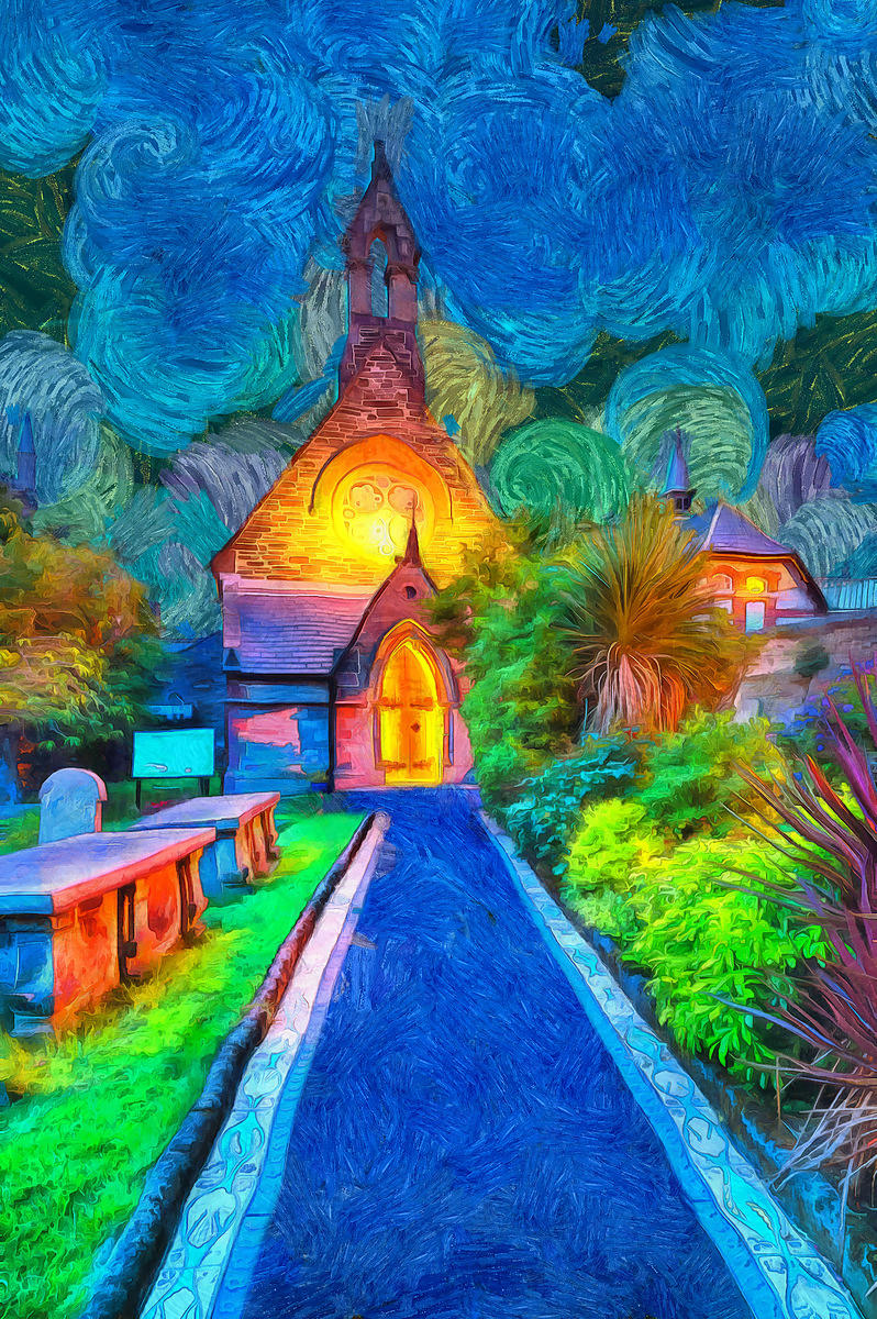 Wee Church Blue Painting
