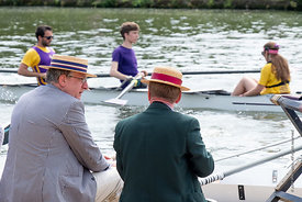 #124957,  'Boaters' (hats) on show.  The 'Summer Eights', a week of rowing races for the Oxford University Colleges on the ri...