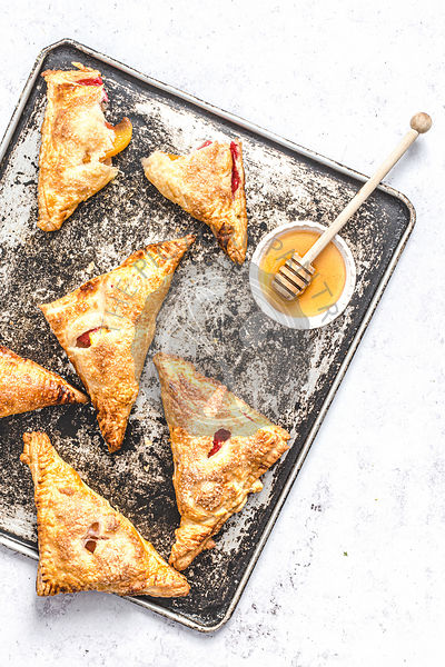 Nectarine and rasberry turnovers