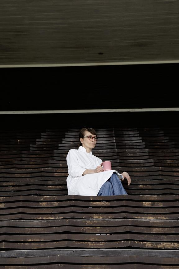 The old, original grandstand is Saara's favourite place for a cup of coffee.
