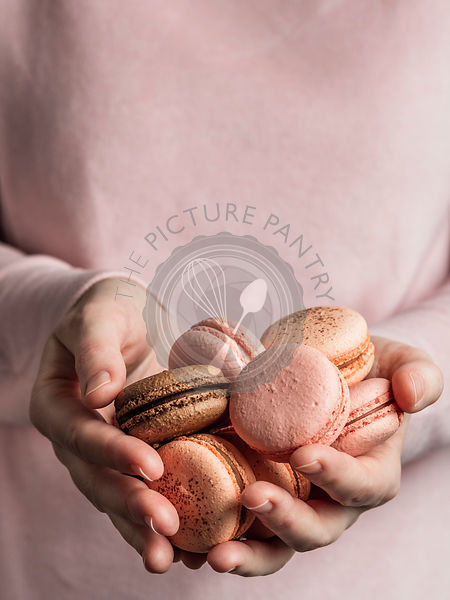 Macarons heap in female hands, vertical