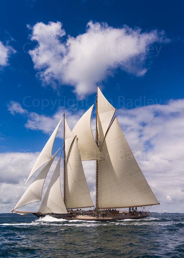 Classic yacht Mariette and cloud off  Falmouth