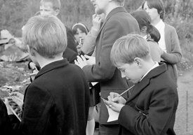 #83772,  Class is taken out to explore the locality, Whitworth Comprehensive School, Whitworth, Lancashire.  1970.  Shot for ...