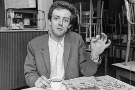 #74858,  Cornelius Cardew (1936-1981), avant-garde musician and composer, in his favourite cafe, Fitzrovia, London.  3rd July...