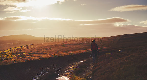 A hiker walking along a winding path at sunset towards the old stone chimney's at Bolts Law in County Durham