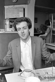 #74857,  Cornelius Cardew (1936-1981), avant-garde musician and composer, in his favourite cafe, Fitzrovia, London.  3rd July...
