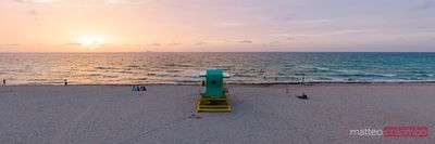 Panoramic of lifeguard cabin on South beach at sunrise