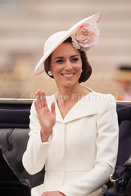 Catherine, Duchess of Cambridge riding in an Open Carriage to the Trooping the Colour Ceremony from Buckingham Palace