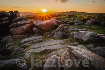 Sunset on Higger Tor in Peak District, UK