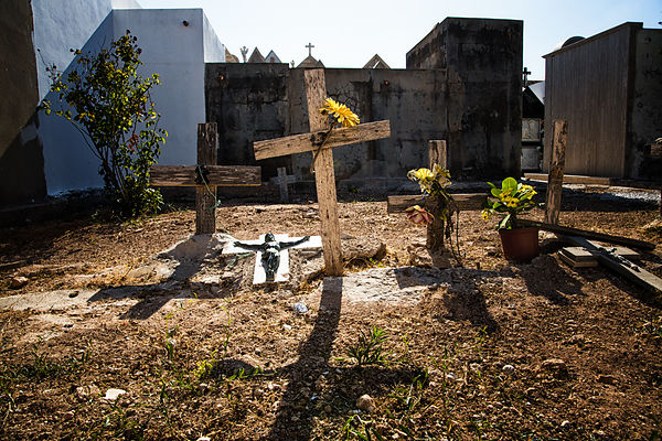 Old graves of unidentified migrants in the cemetery of Lampedusa. Since the '90' Lampedusa have to bury migrant bodies.