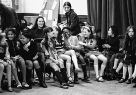 #74731, Anna Scher Children's Theatre, Bentham Court Hall, Islington, North London 1972.  Kids would come after school and be...