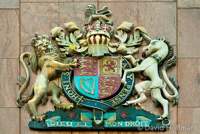 Symbol outside Thames Magistrates' Court, London E3 4DJ