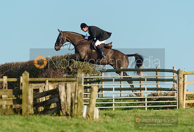 Joey Newton jumping a fence off Hades Lane. The Quorn Hunt at Fox Covert Farm 10/1