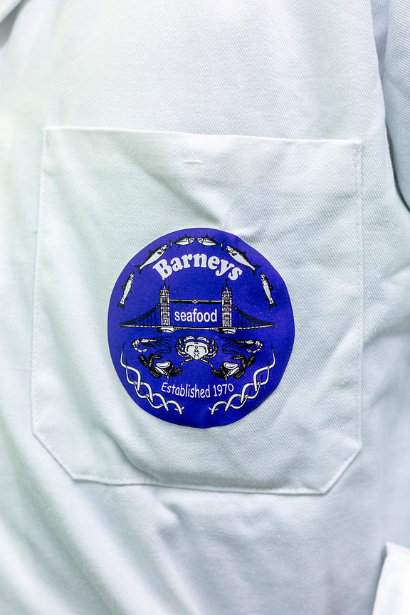 Detail of Barneys Seafood logo.