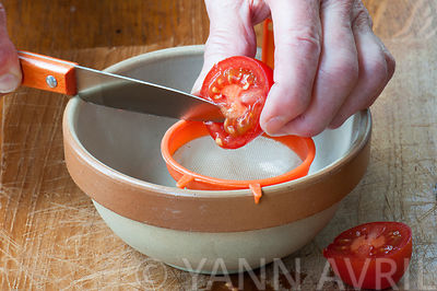 Solanum-Harvest tomato seeds ; Well ripe 'Roma' tomato and tools