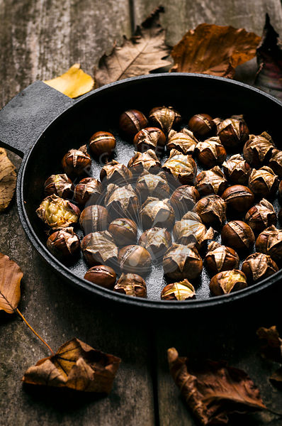 Roasted Chestnuts in Cast Iron Pan