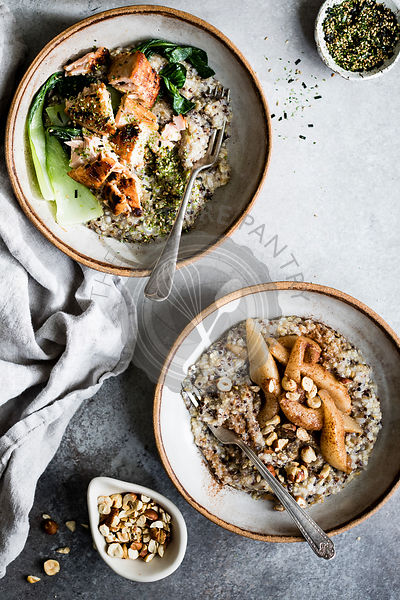 A healthy multigrain porridge with a savoury topping of miso roasted salmon and bok choy, and a sweet version with spiced pea...