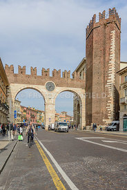 VERONA, ITALY - OCTOBER 26, 2017: Portoni della Bra, one of medieval entrance of historical city Verona, northern Italy.