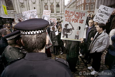 Anti police protests as police officers from across the country converged on London for a mass rally to protest at proposed ...