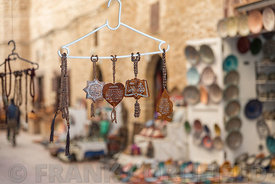 ESSAOUIRA, MOROCCO - MARCH 03, 2017: Islamic souvenirs for sale outside a shop in Rue Skala, Essaouira, Morocco.