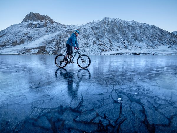 Cycling on a frozen lake with Nick Gowan