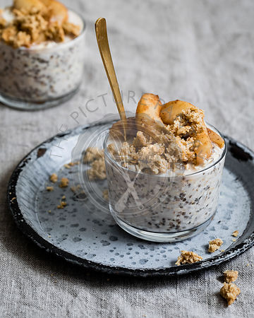 Coconut overnight oats with spiced pears and coconut oat crumbles