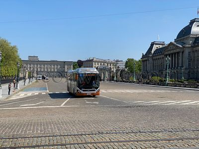 Brussels, Belgium, April 25, 2020 - public transport in brussels street deserted during Confinement covid-19. Crisis during a...