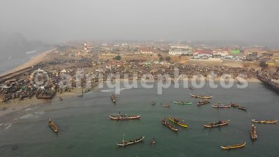 Jamestown harbor, Accra from above, drone video