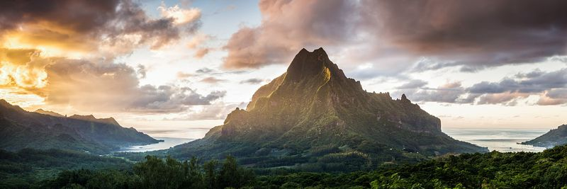 Sunset over Mt Rotui, Moorea, French Polynesia