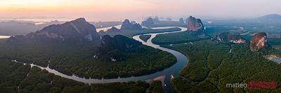 Aerial panoramic of river at sunset, Phang Nga bay, Thailand