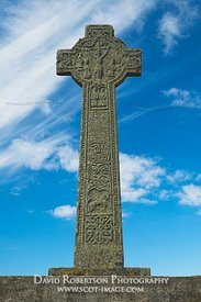 The Kilchoman Cross, Kilchoman, Isle of islay, Argyl and Bute, Scotland.  View of the east side showng the crucifixion of Chr...