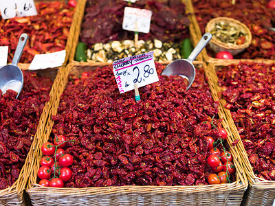 Fresh hot peppers in vegetable market, Rialto, Venice, Italy