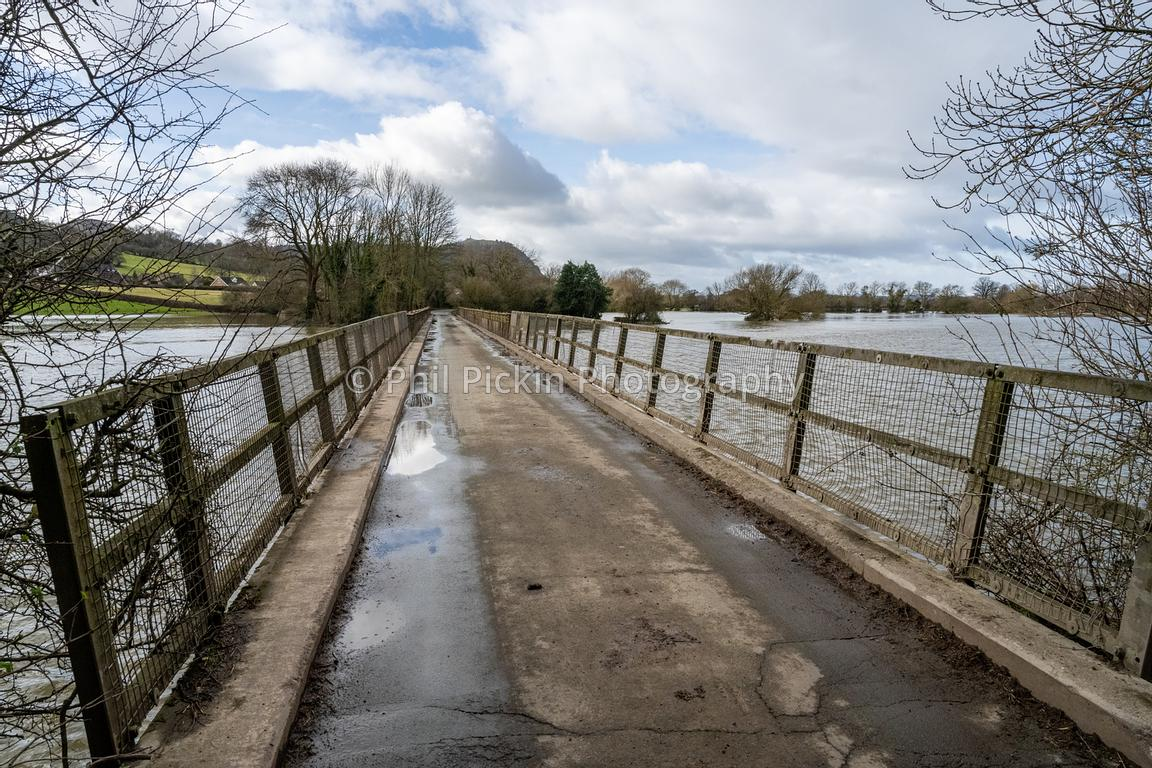 Bridge over the River Severn in Melveley in Shropshire during flooding.