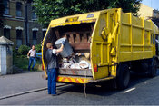 6.84/10x Domestic waste collection, Tower Hamlets, London 1993.
