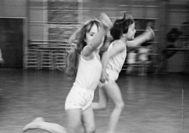 #77325,  Music and movement, exercises in the gym, Vittoria Primary School, Islington, London.  1970.