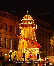 Image - Fairground Helter-skelter, Edinburgh, Illuminated
