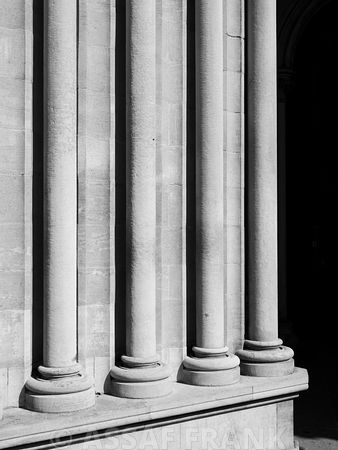 Architectural geometric lines at a church pillars